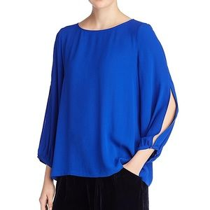Eileen Fisher Silk Crepe Royal Blue Blouse Top
